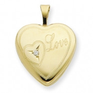 1/20 Gold Filled 16mm Heart with Diamond Love Heart Locket chain