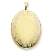 1/20 Gold Filled 20mm Greek Key Border Oval Locket chain