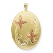 1/20 Gold Filled 20mm Enameled Flower Oval Locket chain