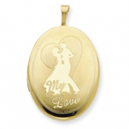 1/20 Gold Filled 20mm My Love with Couple Oval Locket chain