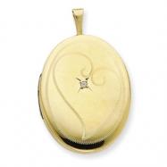 1/20 Gold Filled 20mm Diamond in Heart Oval Locket chain