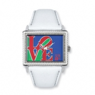 Postage Stamp Love White Leather Band Watch ring