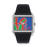 Postage Stamp Love Black Leather Band Watch ring