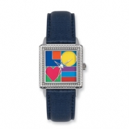 Postage Stamp Mod Love Blue Leather Band Watch ring