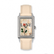 Postage Stamp Love Letters Cream Leather Band Watch ring