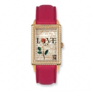 Postage Stamp Love Letters Red Leather Band Watch ring