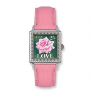 Postage Stamp Love Rose Pink Leather Band Watch ring