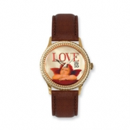 Postage Stamp Love Cupid Brown Leather Band Watch ring