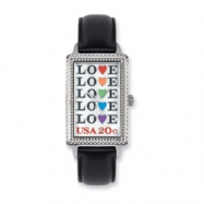 Postage Stamp Love Repeat Black Leather Band Watch ring