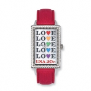 Postage Stamp Love Repeat Red Leather Band Watch ring