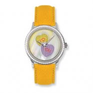 Postage Stamp Candy Hearts Yellow Leather Band Watch ring