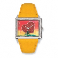 Postage Stamp All Heart Yellow Leather Band Watch ring
