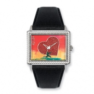 Postage Stamp All Heart Black Leather Band Watch ring