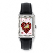 Postage Stamp Love Dove Black Leather Band Watch ring