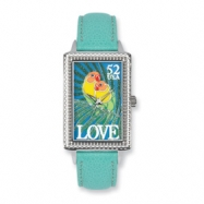 Postage Stamp Love Birds Turquoise Leather Band Watch ring