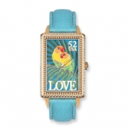 Postage Stamp Love Birds Light Blue Leather Band Watch ring