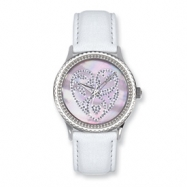 Postage Stamp Pink Hearts White Leather Band Watch ring