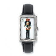 Postage Stamp Nutcracker Black Leather Band Watch ring