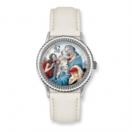 Postage Stamp Baby Jesus Cream Leather Band Watch ring