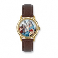 Postage Stamp Baby Jesus Brown Leather Band Watch ring