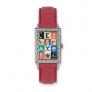 Postage Stamp Celebrate Red Leather Band Watch ring