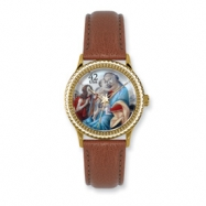 Postage Stamp Baby Jesus Lt. Brown Leather Band Watch ring