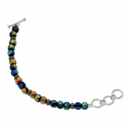 Sterling Silver Dichroic Glass Beaded 8in Toggle Bracelet
