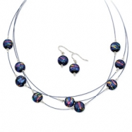 Sterling Silver Blue Dichroic Glass Earrings & 18in Necklace Set