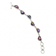 Sterling Silver Mulitcolor Triangle Dichroic Glass 9in Toggle Bracelet anklet