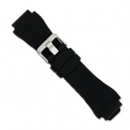 22mm Blk Zigzag Silicone Rubber Slvr-tone Bkle Watch Band ring