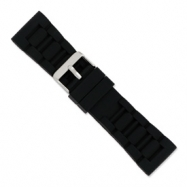 26mm Blk Link Style Silicone Rubber Slvr-tone Bkle Watch Band ring