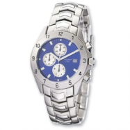 Mens Charles Stainless Blue Dial Chronograph Watch