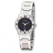 Mens Charles Hubert Stainless Steel Black 32mm Dial Watch