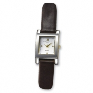 Ladies Charles Hubert Black Leather Band White Dial 20mm Watch ring