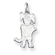 Sterling Silver Hockey - Girl Charm