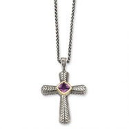 Sterling Silver w/14k .70Amethyst Cross 18in Necklace