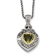 Sterling Silver w/14k 1.40Lemon Quartz 18in Necklace