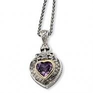 Sterling Silver w/14k 2.60Pink Amethyst Heart 18in Necklace