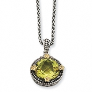 Sterling Silver w/14k 5.00Lemon Quartz 18in Necklace