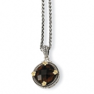 Sterling Silver w/14k 5.00Smokey Quartz 18in Necklace