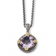 Sterling Silver w/14k 5.00Pink Amethyst 18in Necklace