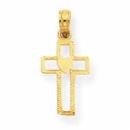 14K Cross with Heart Pendant
