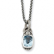 Sterling Silver 1.90Sky Blue Topaz & .015ct. Diamond 18in Necklace