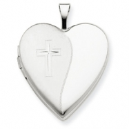 14K 20mm White Gold Polished Satin w/ Cross Heart Locket