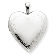 14K 20mm White Gold Flower Vine Border Heart Locket