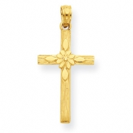 14K Cross with Flower Pendant