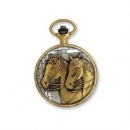 JD Manoir Two-tone White Dial Quartz Horses Pocket Watch