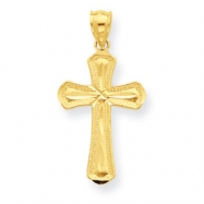 14K Diamond-cut Beveled Edges Cross Pendant