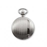 JD Manoir Slvr-tone Brass w/ Stripe White Dial Quartz Pocket Watch