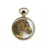 JD Manoir Two-tone White Dial Quartz Horse Pocket Watch